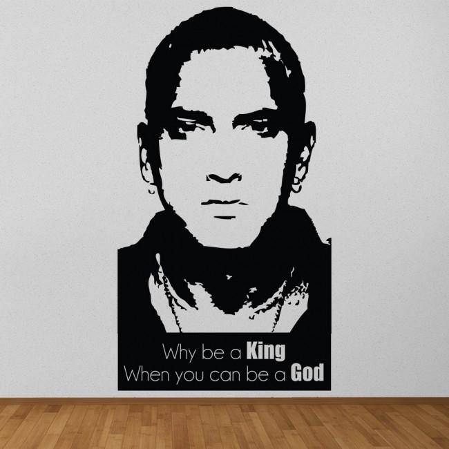 Why Be A King When You Can Be A God Eminem Rap God Wall Sticker Pertaining To Eminem Wall Art (Image 19 of 20)