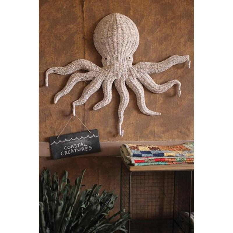 Wicker Octopus Wall Hanging With 5 Hooks With Regard To Wicker Rattan Wall Art (Image 20 of 20)