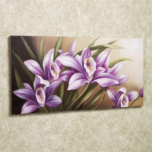 Wild Orchid Handpainted Floral Canvas Wall Art Intended For Floral Wall Art Canvas (Image 20 of 20)
