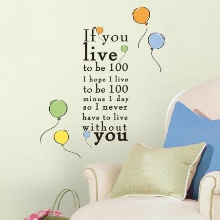 "Winnie The Pooh ""live To Be 100"" Peel And Stick Wall Decals Pertaining To Winnie The Pooh Wall Decor (Image 14 of 20)"