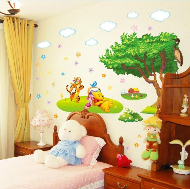 Winnie The Pooh Wall Sticker Baby Kids Room Cartoon Wall Decal Art Inside Winnie The Pooh Wall Decor (Image 20 of 20)