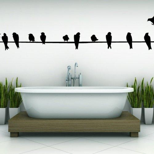 Wire With Birds, Sitting, Calm, Decal, Vinyl, Sticker, Wall,home Intended For Birds On A Wire Wall Art (View 17 of 20)