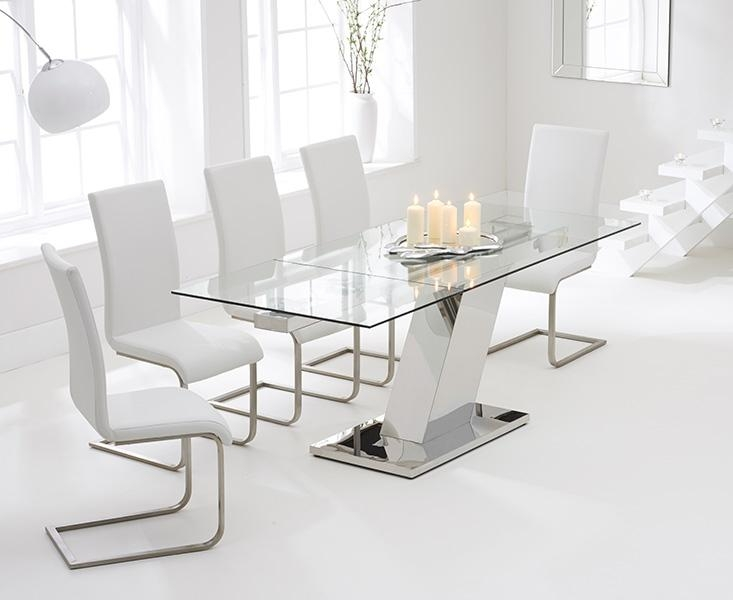 Wonderful White Glass Dining Table And 6 Chairs 70 On Dining Room Within Most Recent Glass Extendable Dining Tables And 6 Chairs (View 20 of 20)