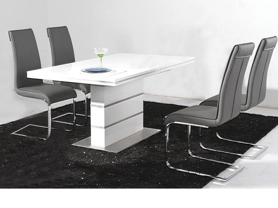 Wonderful White Gloss Dining Table And Chairs Black High Gloss For Best And Newest White Gloss Dining Tables Sets (Image 20 of 20)
