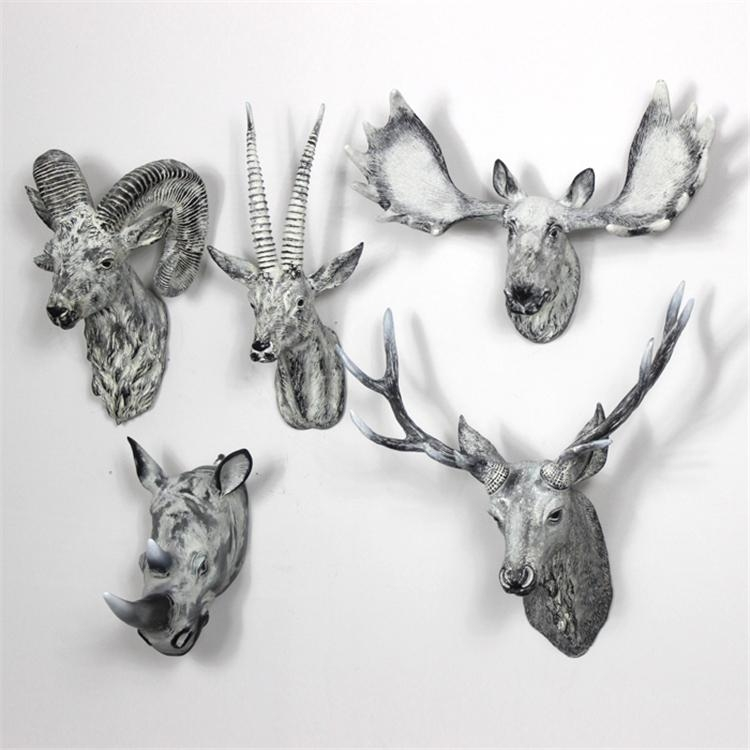 Wonderland Resin Animal Head Creative Craft Wall Art Home In Metal Animal Heads Wall Art (Image 20 of 20)