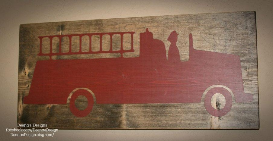 Wondrous Fire Engine Wall Art Firefighter Nursery Firefighter Wall Pertaining To Fire Truck Wall Art (View 14 of 20)