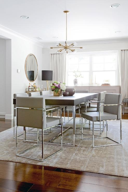 Wood And Chrome Dining Table With Gray Dining Chairs Intended For 2017 Chrome Dining Tables And Chairs (Image 20 of 20)