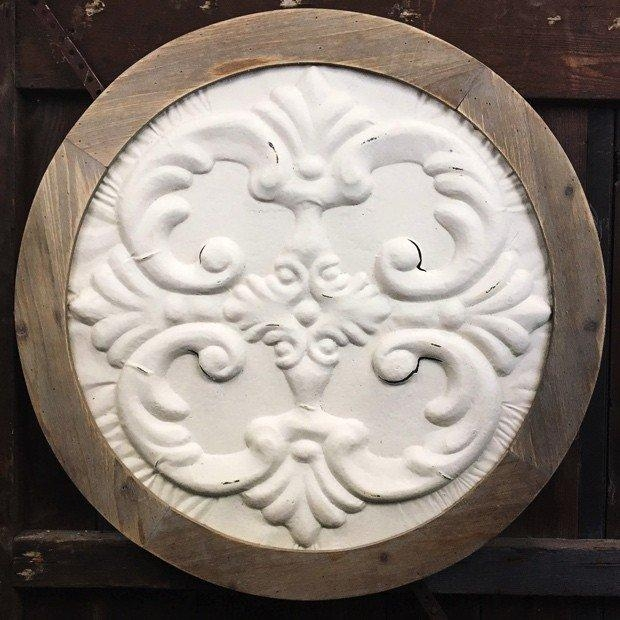 Wood And White Medallion Wall Art | Antique Farmhouse Regarding White Medallion Wall Art (Image 20 of 20)
