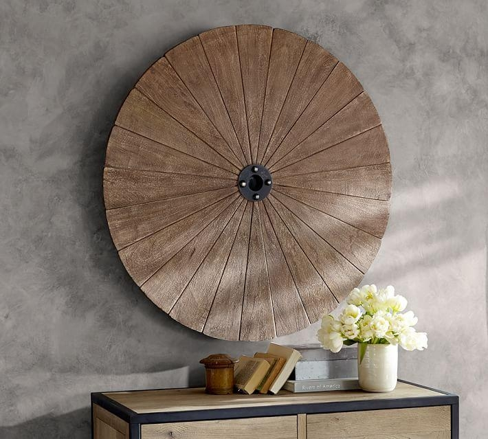 Wood Disc Wall Art | Pottery Barn In Decorative Metal Disc Wall Art (Image 20 of 20)