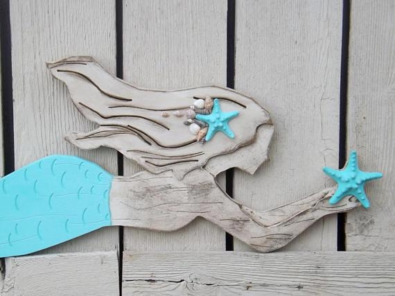 Wood Mermaid Wall Decor X Large Mermaid Mermaid Regarding Wooden Mermaid Wall Art (View 16 of 20)