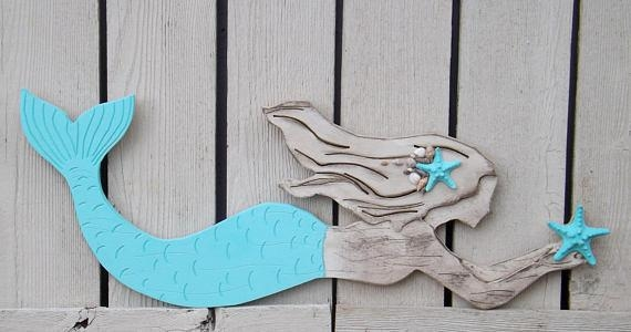 Wood Mermaid Wall Decor X Large Mermaid Mermaid With Mermaid Wood Wall Art (Image 16 of 20)