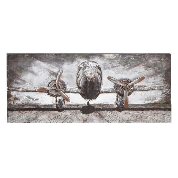 Wood/ Metal Airplane Wall Decor – Free Shipping Today – Overstock With Metal Airplane Wall Art (View 8 of 20)