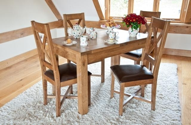 Woodbury Solid Oak Small Extending Dining Table & 4 Woodbury Oak In Most Recently Released Small Extending Dining Tables And 4 Chairs (View 5 of 20)