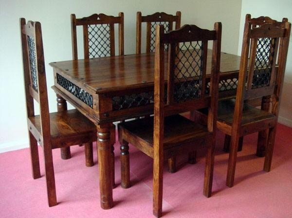 Wooden Dining Sets | Indian Dining Sets | India Wooden Dining Set In Recent Indian Dining Chairs (Image 20 of 20)