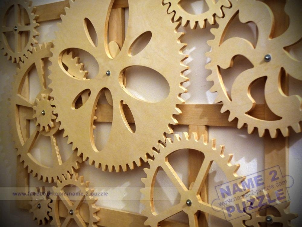 Wooden Kinetic Wall Decor. Mechanical Wall Art (Image 20 of 20)