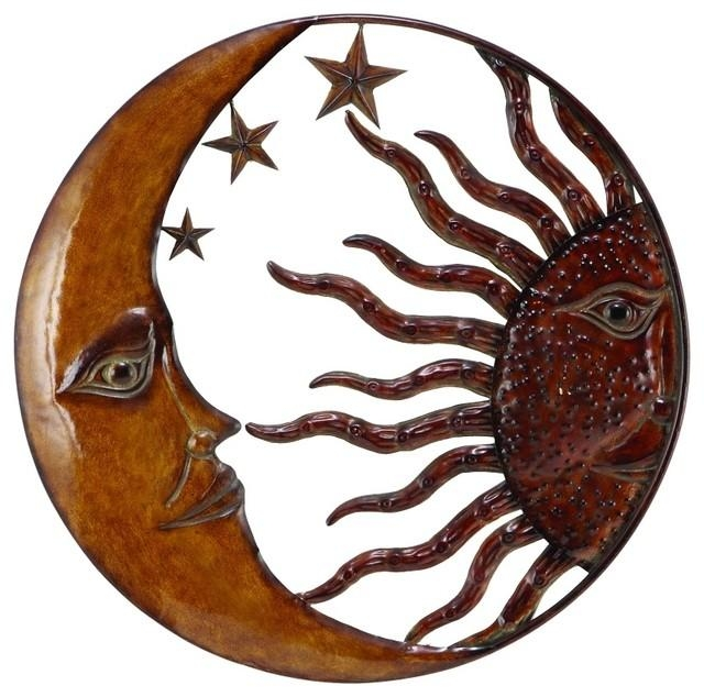 Woodland Imports Metal Sun Moon Wall Decor With Antique Brown Look With Regard To Sun And Moon Metal Wall Art (View 3 of 20)