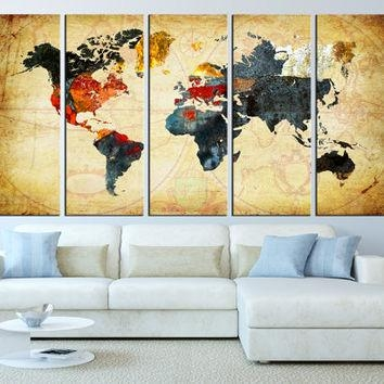 World Map Canvas Art Print, Old World Map From Artcanvasshop On Throughout Old World Map Wall Art (Image 20 of 20)