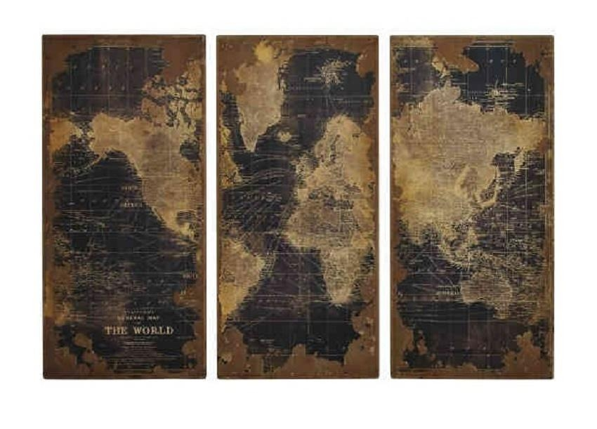 World Map Table Top Metal Accent Side Table Intended For Vintage Map Wall Art (View 7 of 20)