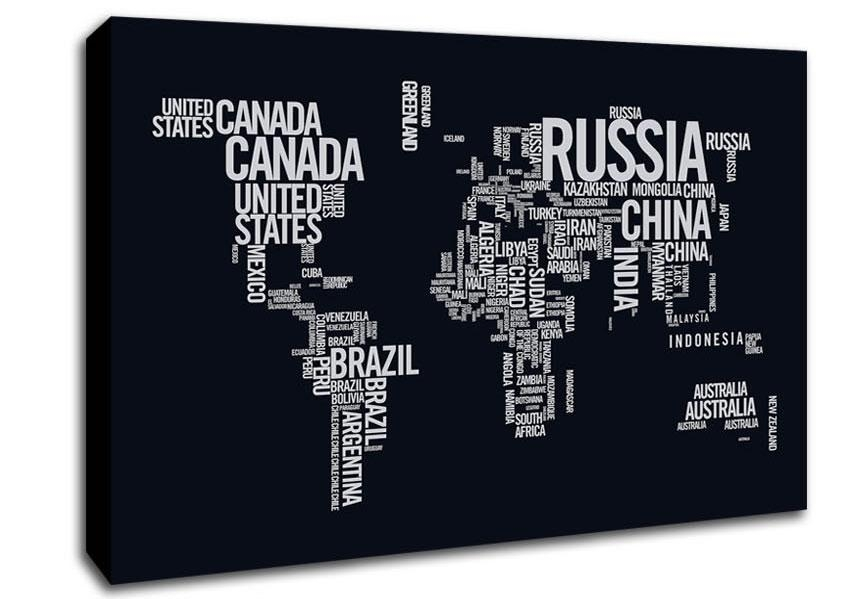 World Map Typography Maps Canvas Stretched Canvas With Regard To Typography Canvas Wall Art (View 17 of 20)