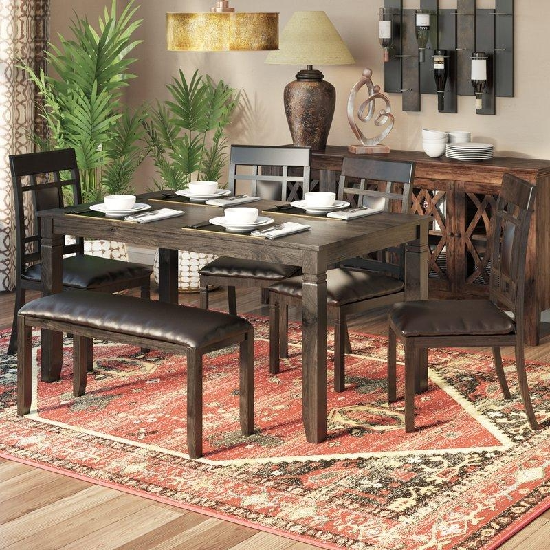 World Menagerie Kouaoua 6 Piece Dining Set & Reviews | Wayfair With Regard To Most Recently Released Wood Dining Tables And 6 Chairs (Image 20 of 20)