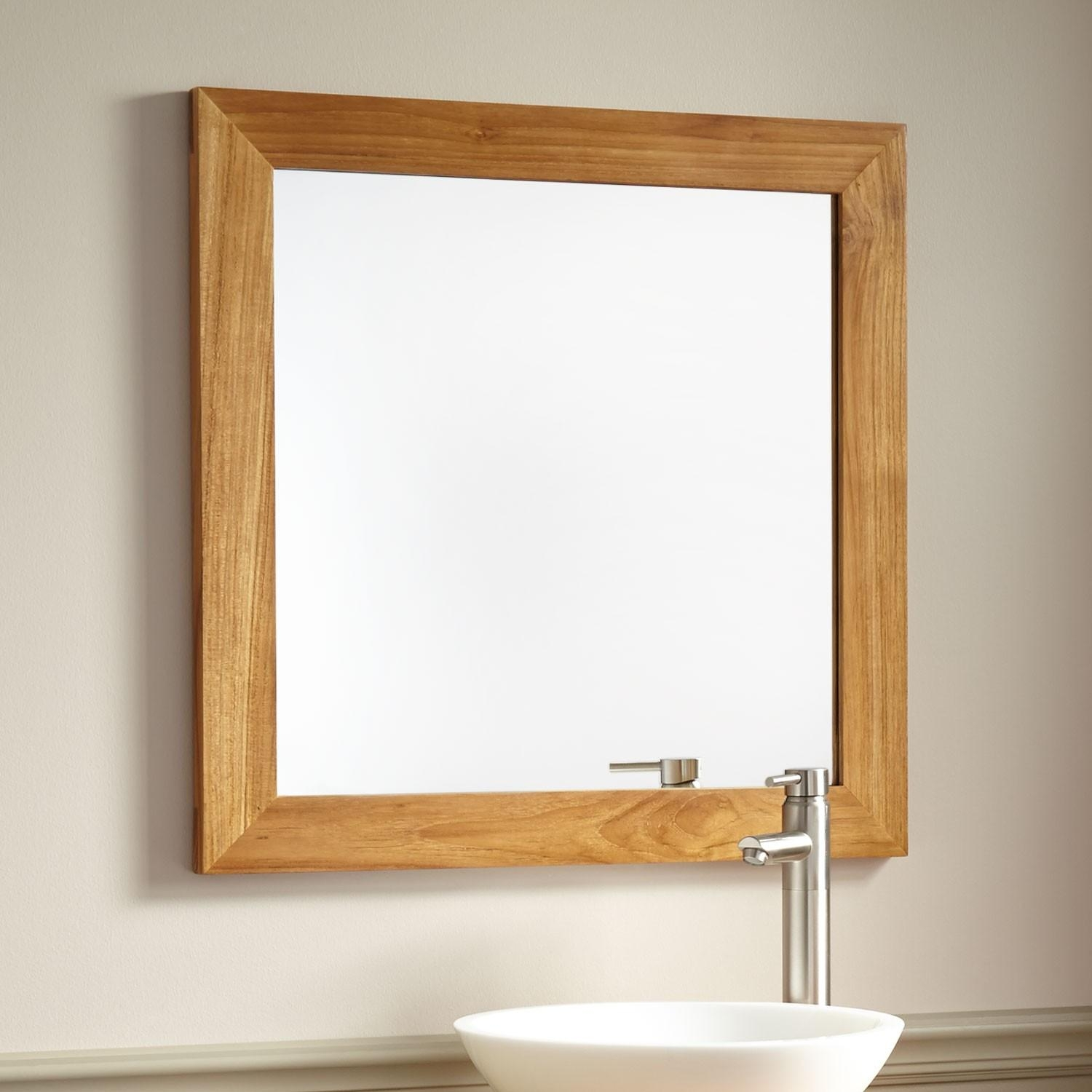 Wulan Teak Mirror – Natural Teak – Bathroom In Natural Wood Framed Mirrors (Image 20 of 20)