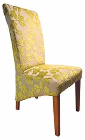 Yellow Damask Fully Upholstered Dining Chair With Drop Skirt And Intended For Most Up To Date Fabric Covered Dining Chairs (View 20 of 20)