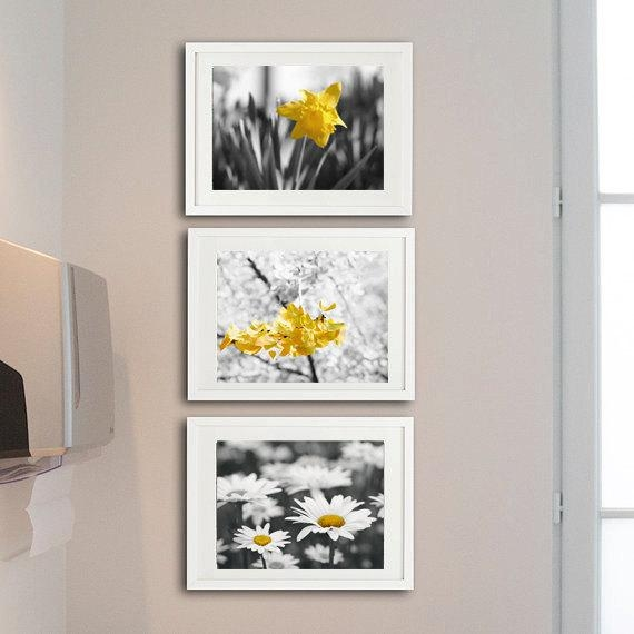 Yellow Grey Nursery Wall Art | Flower Photo Decor Set Of 3 Art Prints With Wall Art Sets Of  (Image 20 of 20)