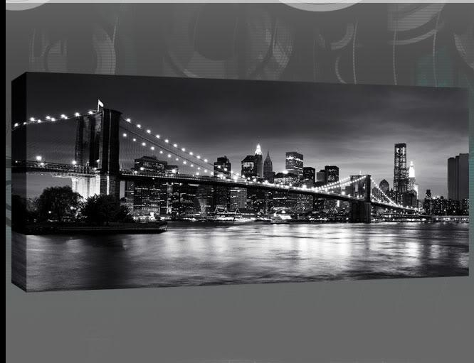 York Brooklyn Bridge Panoramic Black & White Canvas Wall Art 44 X With New York Skyline Canvas Black And White Wall Art (Image 20 of 20)