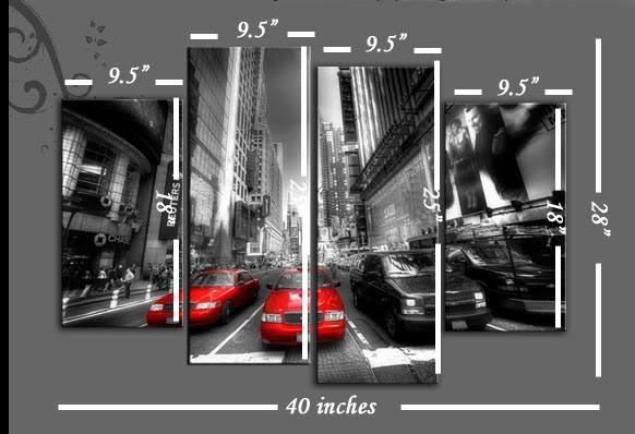 York Cabs 4 Panel Split Panel Various Colours Available Split Panel Throughout Black And White New York Canvas Wall Art (Image 20 of 20)