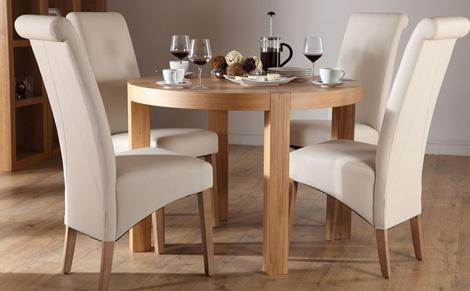 York Round Oak Dining Table And 4 Chairs Set Richmond Cream Only Throughout Most Recent Round Oak Dining Tables And Chairs (Image 20 of 20)