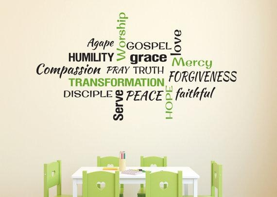 Youth Room Church Religious Christian Word Collage Subway Art Within Christian Word Art For Walls (Image 20 of 20)