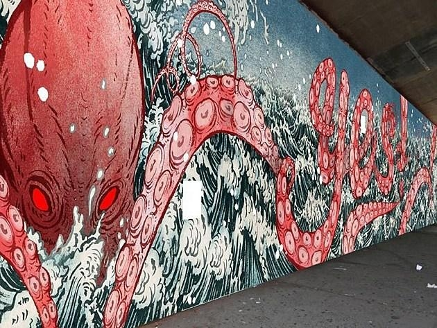 Yuko Shimizu Covers An 80 Foot Long Wall In Octopus Tentacles Intended For Octopus Tentacle Wall Art (View 16 of 20)