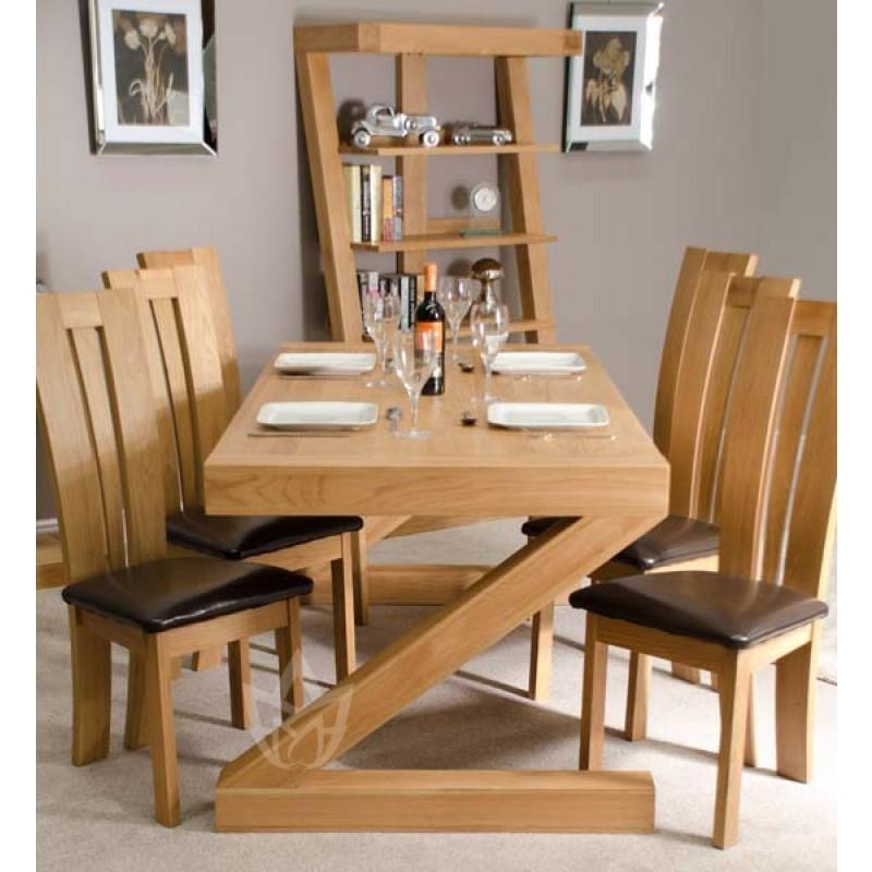 Z Solid Oak Designer Large 6 Seater Dining Table With Chairs Intended For Most Current Solid Oak Dining Tables And 6 Chairs (Photo 13 of 20)
