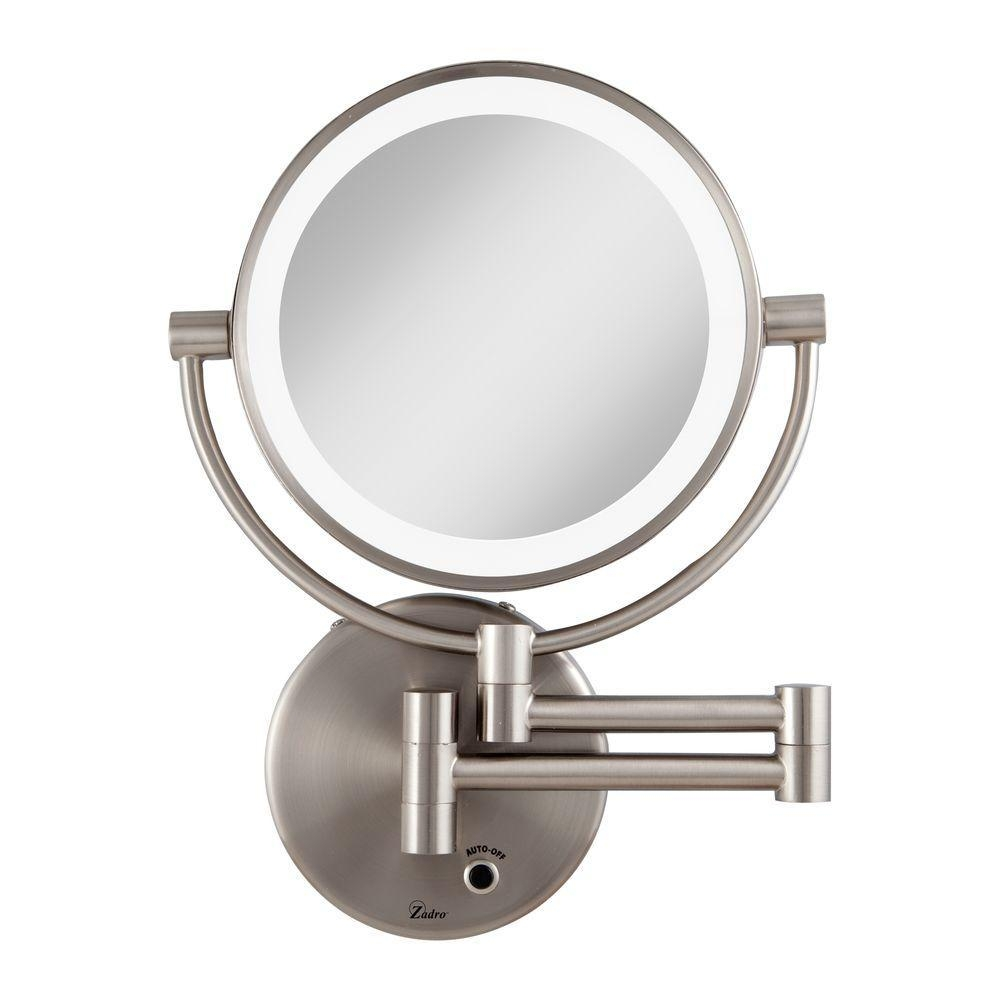 Zadro 12 In. L X 9 In. W Led Lighted Wall Mirror In Satin Nickel For Movable Mirrors (Photo 11 of 20)