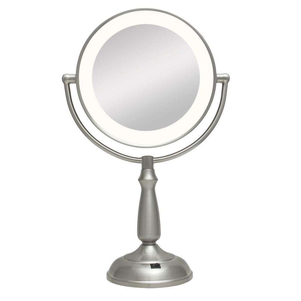Zadro Ultra Bright Led Lighted 10X/1X Round Vanity Mirror In Satin With Regard To Magnified Vanity Mirrors (Image 20 of 20)