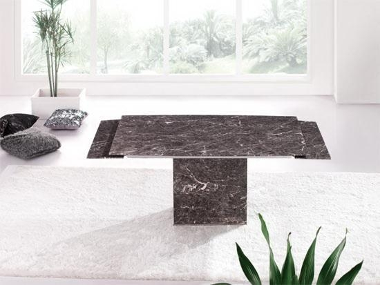 Zeus Brown Grey Marble Extending Dining Table 6 Chairs With Regard To Extending Marble Dining Tables (Image 20 of 20)