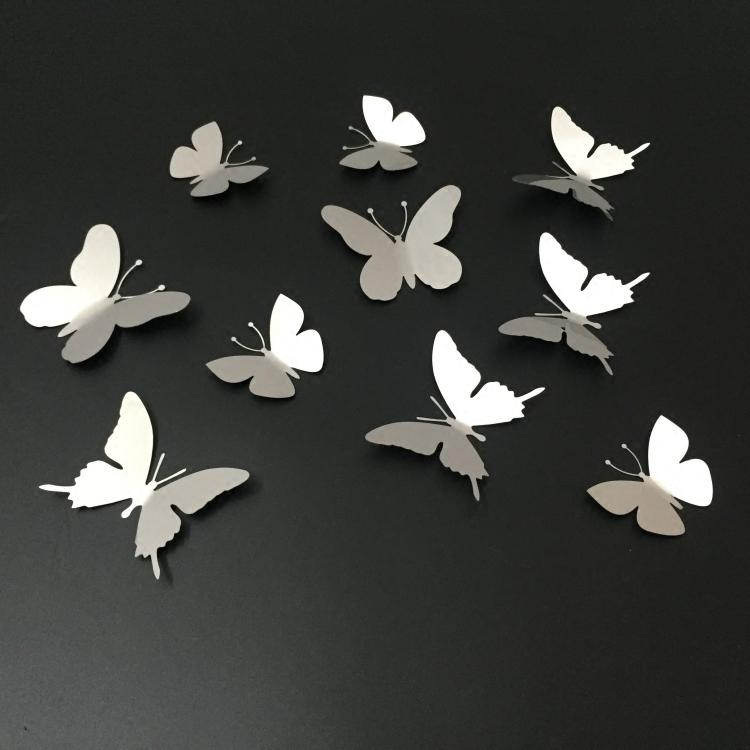 10Pcs/lot Silver 3D Butterfly Wall Decor Art Mirror Wall Sticker Regarding White 3D Butterfly Wall Art (Image 1 of 20)