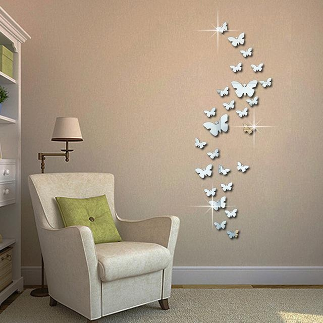 12Pcs 3D Mirror Butterfly Wall Stickers Decal Wall Art Removable Intended For Diy 3D Wall Art Butterflies (Image 2 of 20)