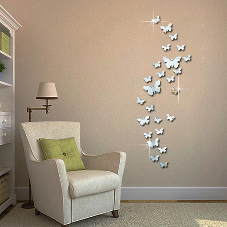12Pcs 3D Mirror Butterfly Wall Stickers Decal Wall Art Removable With Regard To Diy 3D Butterfly Wall Art (Image 2 of 20)