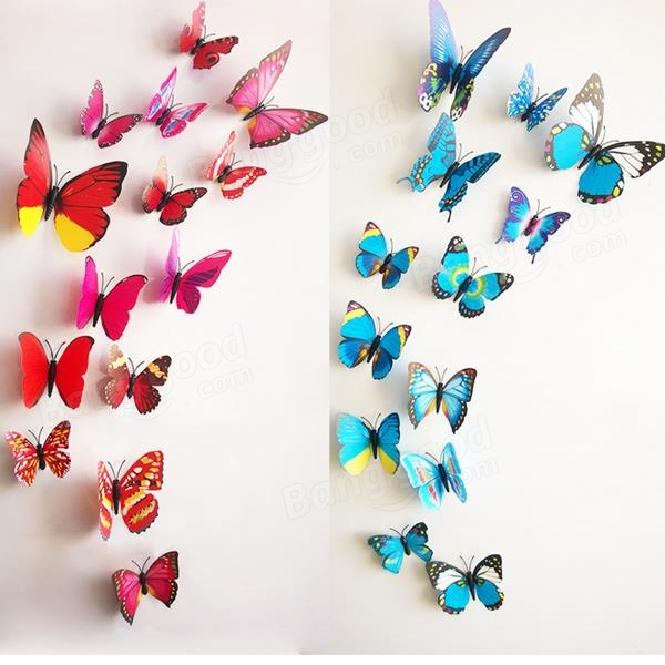 12Pcs 3D Stereoscopic Butterfly Wall Sticker Living Room Home With 3D Butterfly Wall Art (View 17 of 20)