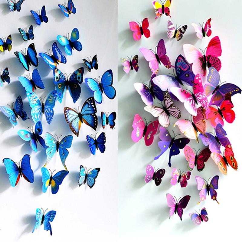 12Pcs/lot Colorful 3D Butterfly Wall Stickers Home Decor Wall Pertaining To 3D Butterfly Wall Art (View 9 of 20)