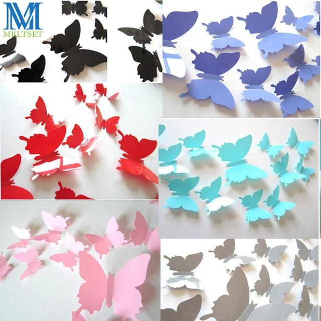 12Pcs/set Pvc 3D Butterfly Wall Decor Stickers Diy 3D Wall Intended For Diy 3D Wall Art Decor (Image 3 of 20)