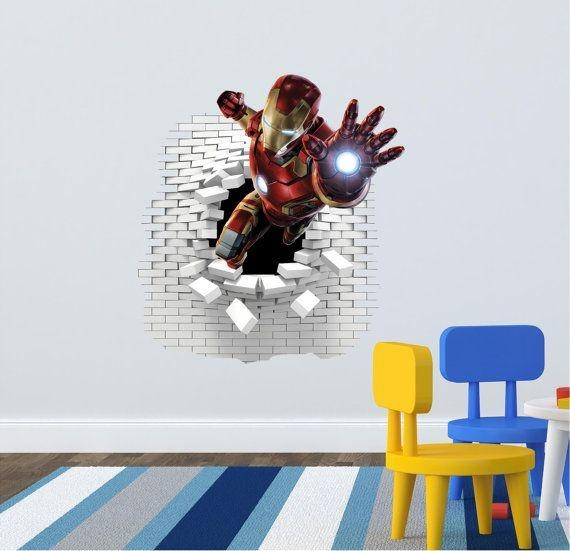 14 Best Boys Room Images On Pinterest | Boy Rooms, Wall Decals And For Iron Man 3D Wall Art (Image 1 of 20)