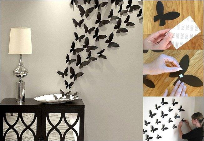 16 Cheap And Easy Diy Wall Beautification With Butterflies | World Intended For Diy 3D Butterfly Wall Art (Image 3 of 20)