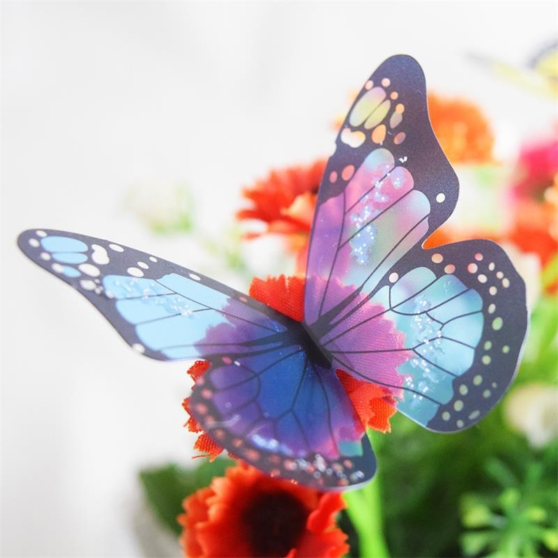18Pcs Creative Butterflies 3D Wall Stickers Pvc Removable Decors In 3D Removable Butterfly Wall Art Stickers (View 18 of 20)