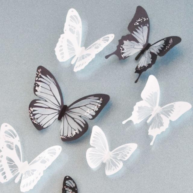 18Pcs/lot Creative 3D Butterfly Stickers Pvc Removable Wall Decor Inside Diy 3D Butterfly Wall Art (Image 4 of 20)