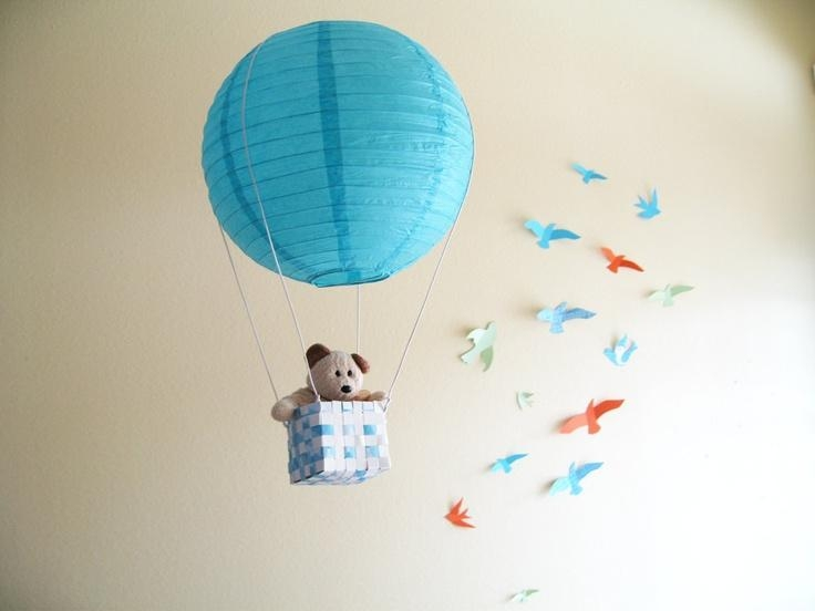 2 Hot Air Balloon Mobile, Hot Air Balloon, Blue, Boys Room Decor Intended For Air Balloon 3D Wall Art (View 4 of 20)