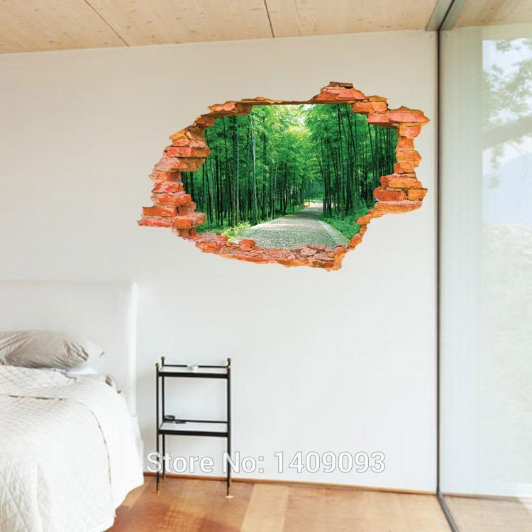 2015 Large Wall Sticker Tree Forest Landscape 3D Brick Decals In 3D Brick Wall Art (Image 1 of 20)