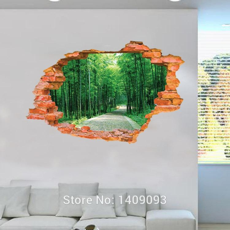 2015 Large Wall Sticker Tree Forest Landscape 3D Brick Decals Inside 3D Brick Wall Art (Image 2 of 20)