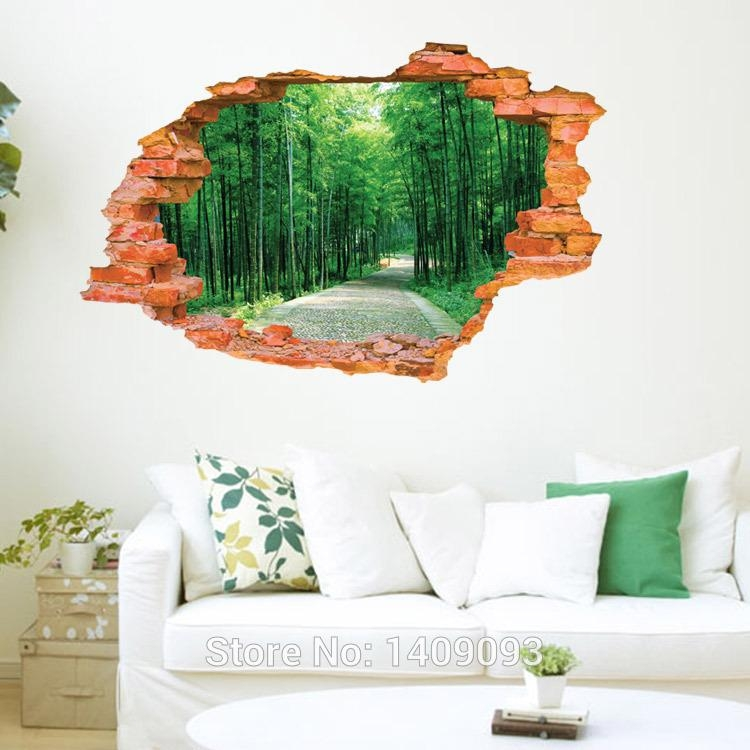 2015 Large Wall Sticker Tree Forest Landscape 3D Brick Decals With Regard To 3D Brick Wall Art (Image 3 of 20)